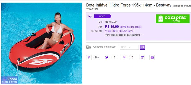Bote Inflável Hidro Force 196x114cm Bestway << R$ 1990 >>
