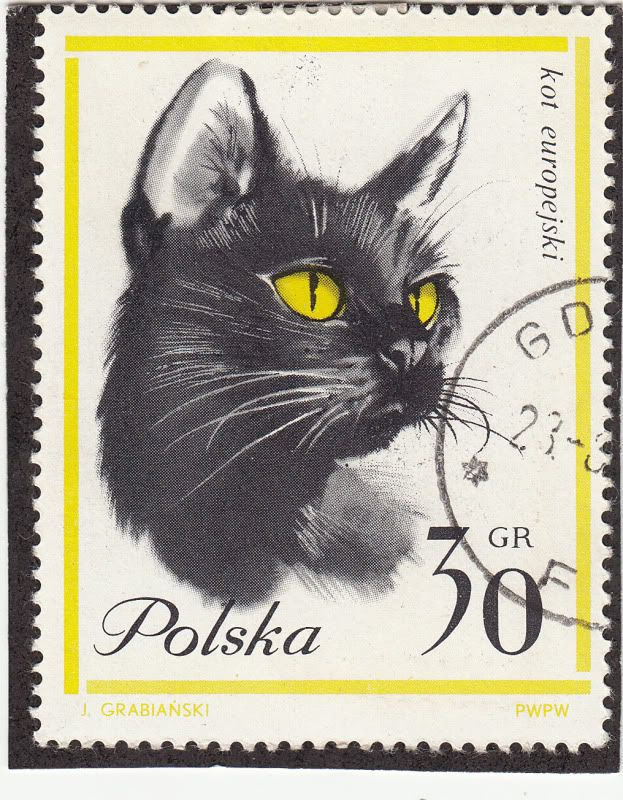 polish cat stamp (by J. Grabianski)