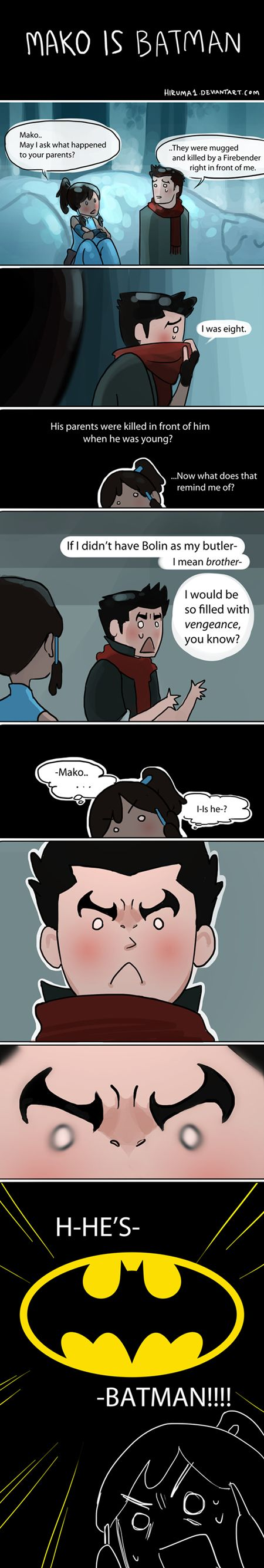 Mako is NOT, hear me, NOT cool enough to be Batman. Sorry, Mako. You cheated on Asami, and Asami was cool.