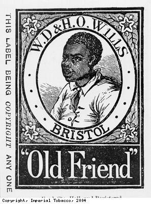 """Wrapper for WD and HO Wills' Old Friend tobacco.  """"Even after the freeing of slaves in America in 1865, many African Americans continued to work on the tobacco and cotton plantations where they had previously worked as slaves.� This, and the attitude to black people generally, was reflected in the continued use of the image of a black man or woman on British tobacco packaging and advertising until about 1960."""""""