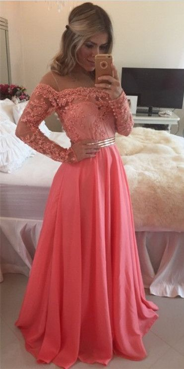 Pretty Coral Prom Dress with Waistband,Long Sleeve Prom Dress with Appliques,Long Chiffon Prom Dress,Party Dress,Pencil Dress,Maxi Dress,Slim Dress,Evening Dress,Formal Dress,Homecoming Dress Long ,Wedding Party Dress,Party Dress,Graduation Dress,Custom Made Dress
