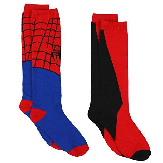 f65c3f327 Spider-Man Superhero Womens Novelty Costume 2 pack Knee High Socks (9-11