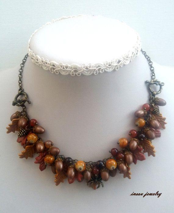 Acorn jewelry  Fall leaves  Handmade Fall jewelry  by insoujewelry