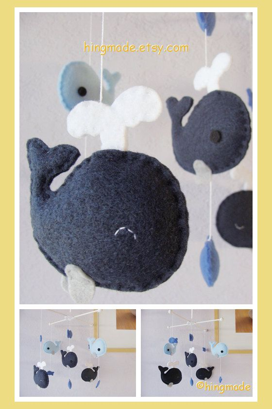 Whale Mobile  Baby Mobile  Nursery Crib Mobile  Felt by hingmade, $82.00