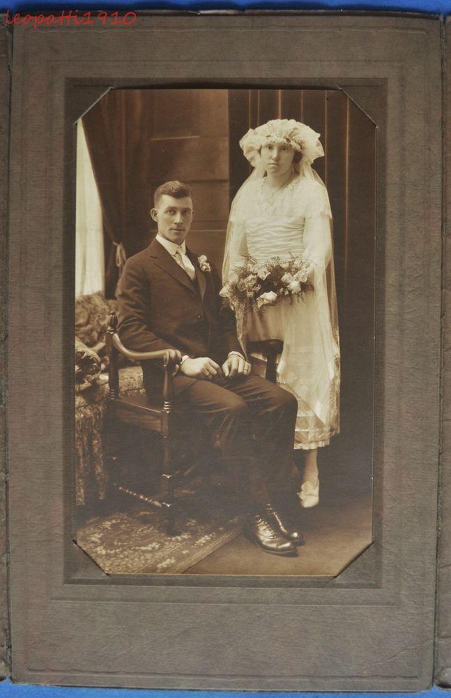 Antique Photo Folder Wedding Couple Bride White Dress Veil by Austin | Collectibles, Photographic Images, Vintage & Antique (Pre-1940) | eBay!