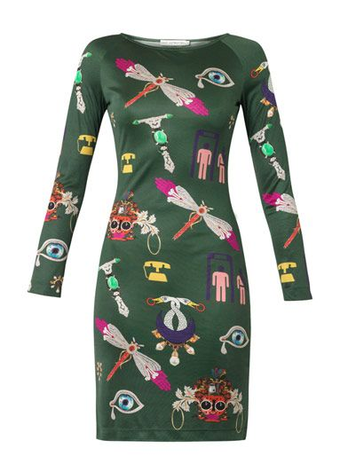 Symbol-print silk-jersey dress | Mary Katrantzou | MATCHESFASH...  Flamboyant/Yang G