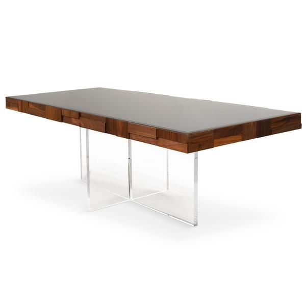 Kubist Dining Table With Cross Lucite Base Dining Table Dining