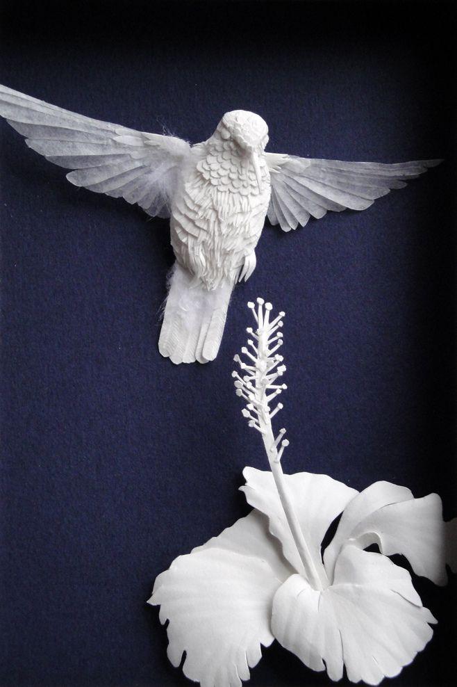 "https://flic.kr/p/93DRza | hummernhibiscus | Paper sculpture. 4"" x 6"" art size. All paper."