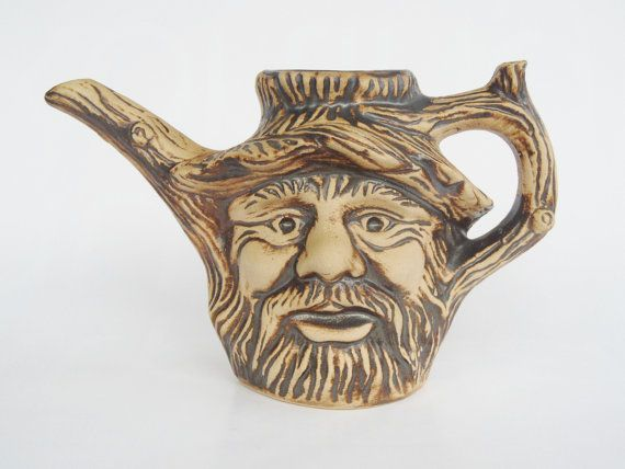 Wood Spirit watering can jug pitcher West German by Coollect