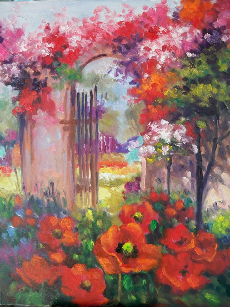 103 best garden paintings images on pinterest forests for Garden painting images