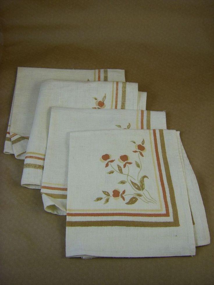 (4) Vintage Hall China Jewel Tea Autumn Leaf - Muslin Napkins
