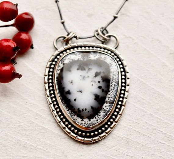 Dendritic Agate Gemstone Pendant Stunning Dendritic Agate Gemstone Pendant Gift for Her Jewelry 925 Sterling Silver Jewelry