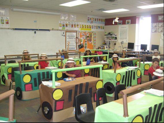 Decora la clase utilizando las mesas de los alumnos. Decoración safari en el…