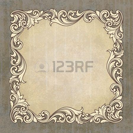 gravura frame da beira do vintage no fundo do grunge com ornamento padrão retro em cartão antigo do estilo barroco decorativo convite photo
