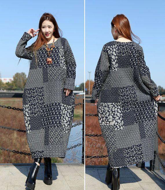 Anysize retro lantern Winter Padded Dress linen&cotton dress