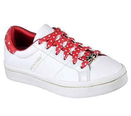 Skechers Kids' Dotty Dancers Lace Up Sneaker Pre/Grade School Shoes (White/Red)