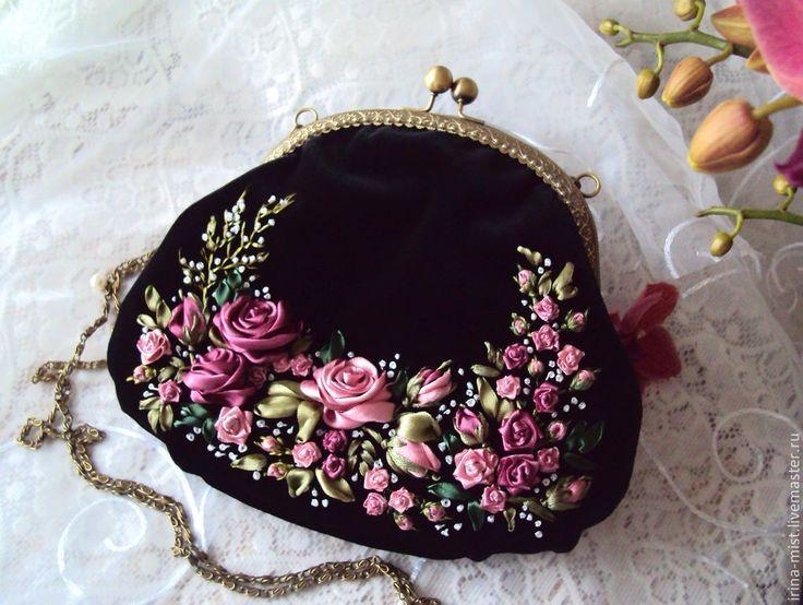 """Купить Бархатная сумочка """"Розы, розы..."""" - черный, цветочный, дамская сумочка, вечерняя сумочка"""