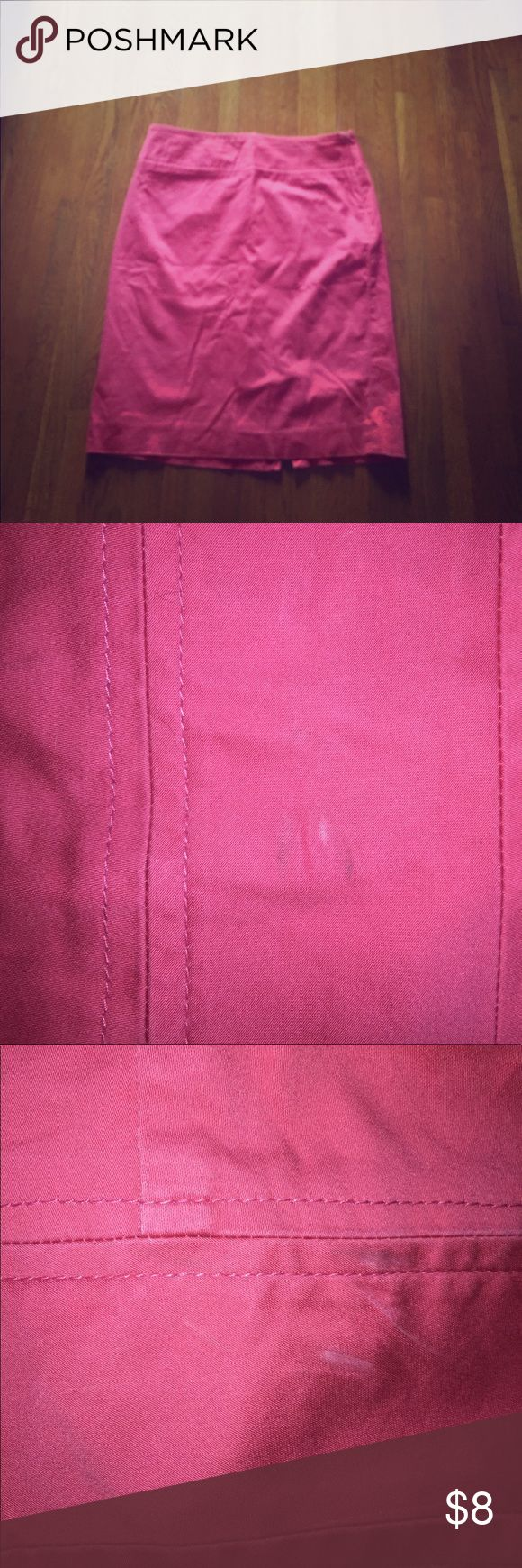 Pink Pencil Skirt High waisted pencil skirt with slit on back. From The Limited. Some fading, marks shown in photos. The Limited Skirts Pencil