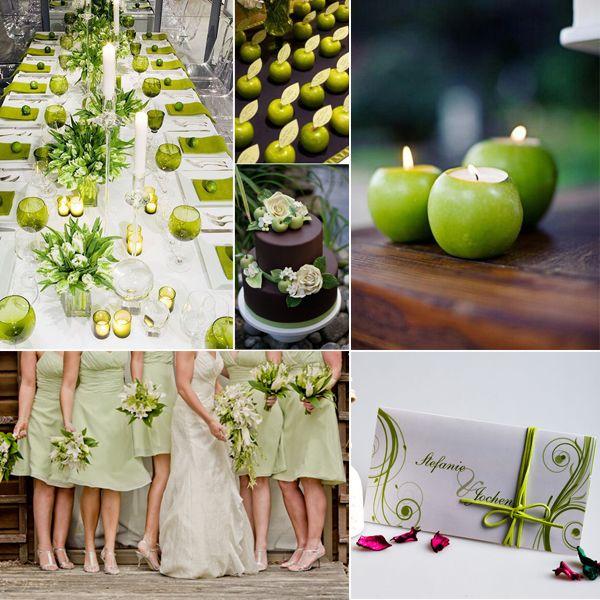 DIY Obst Hochzeit mit chic dekorierten Apfel, Zitrone, Orange - Deko Gartenparty Grun