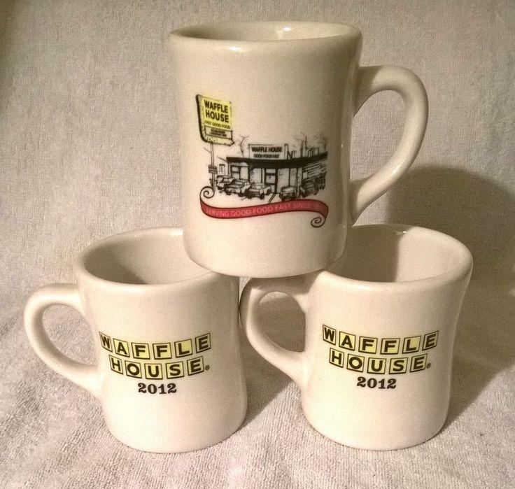 Three (3)  2012 Waffle House Restaurant Coffee Mugs Cafe Style Cups By Tuxton #WaffleHouse