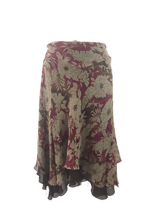 Red Tan Floral Silk Multi Layer Scarf Hemline Maxi Skirt Boho Size 18W Nine West #NineWest #Asymmetrical