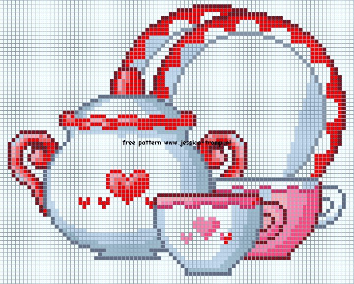 theepotten servies borduurpatronen teapots cups cross stitch patterns designs