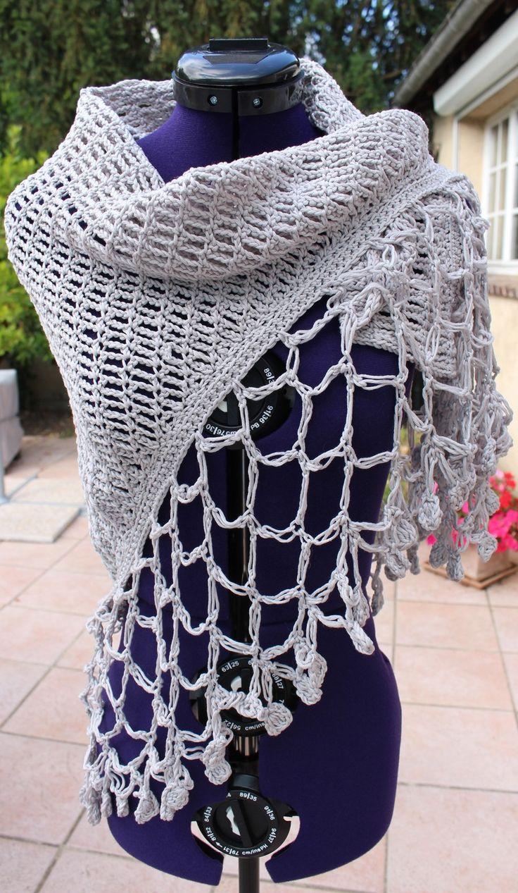 Châle au crochet en coton : Echarpe, foulard, cravate par chaliere