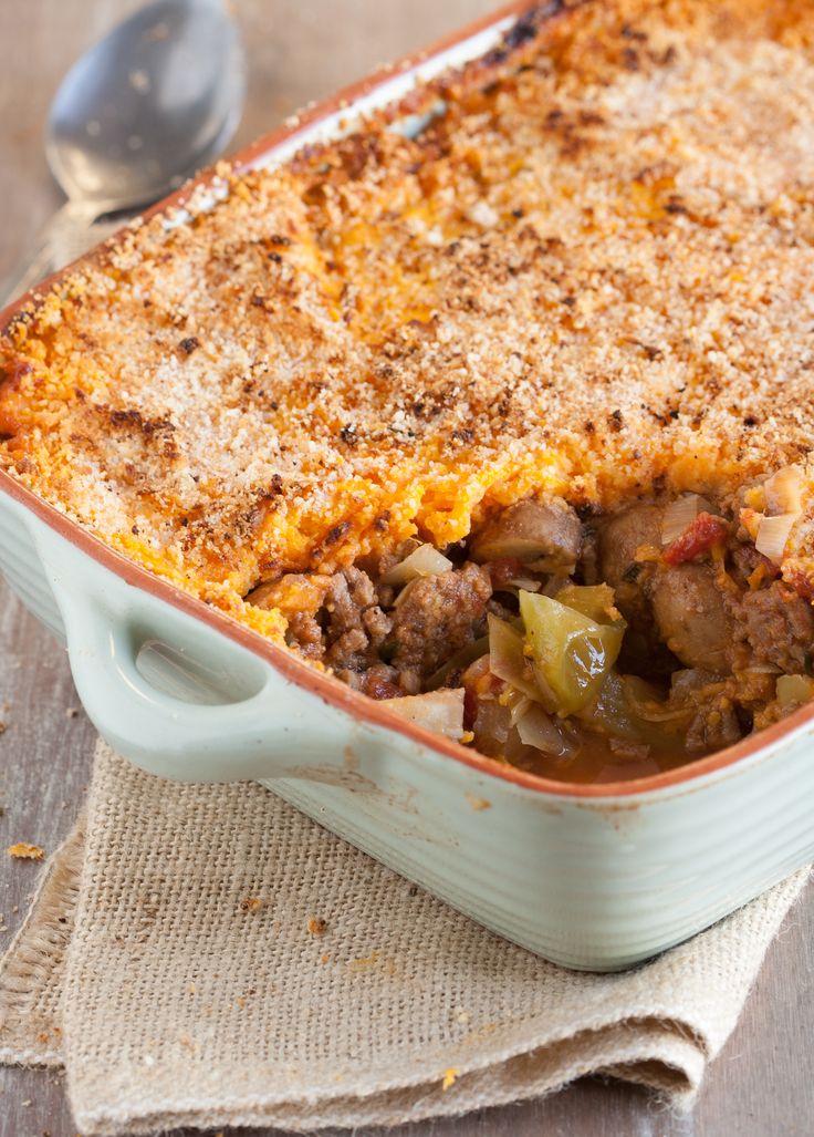 Shepherd's pie met zoete aardappelkorst | Tijd voor een verwarmende maaltijd! Dit recept is namelijk voor de stevige trek!