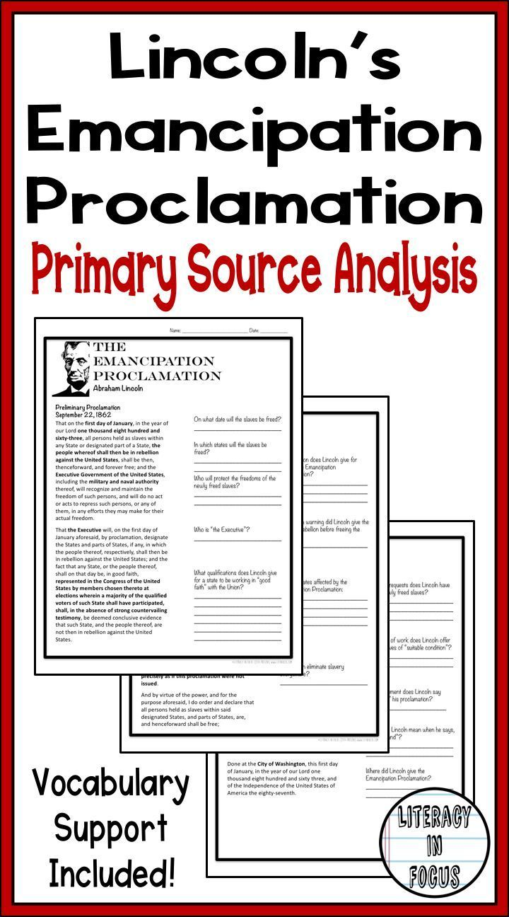 Emancipation Proclamation Activity   Distance Learning   Civil War  Worksheets   Primary and secondary sources [ 1296 x 720 Pixel ]
