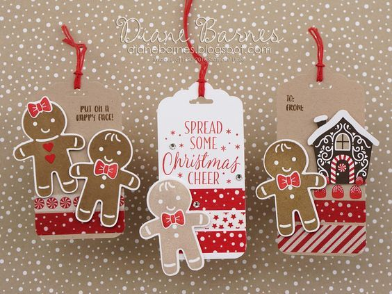 Gingerbread Christmas tags using Stampin Up Cookie Cutter Christmas stamp & punch bundle, Candy Cane Lane suite & Tin of Tags stamps from 2016 Holiday Catalogue. By Di Barnes #colourmehappy:
