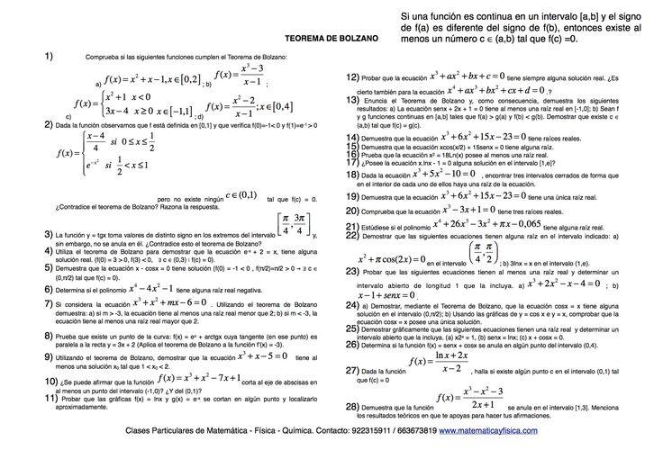 Ejercicios propuestos del Teorema de Bolzano