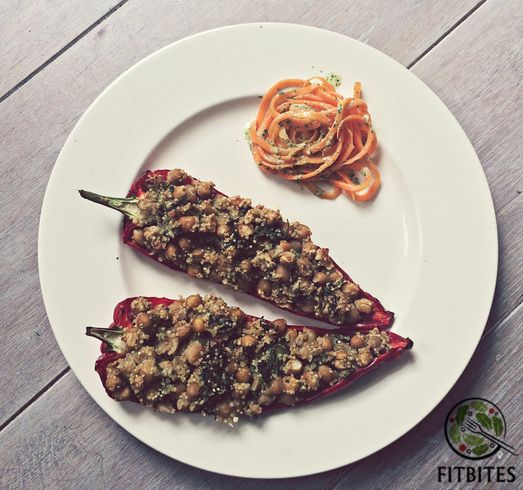 Stuffed pointed peppers with carrot noodles and mint dressing  Hungry? http://bit.ly/stuffypepper  #eatforabs #healthyfoodideas #healthylifestyle #foodisfuel #cleaneats #absaremadeinthekitchen #healthyinspiration #strongnotskinny #eathealthy #fitness #healthysnack #healthyfoodshare #instafit #motivation #weightloss #fitnessgirls #glutenfree #nocarbs #spiralslicer #carrotnoodles #vegetarian #proteinrich