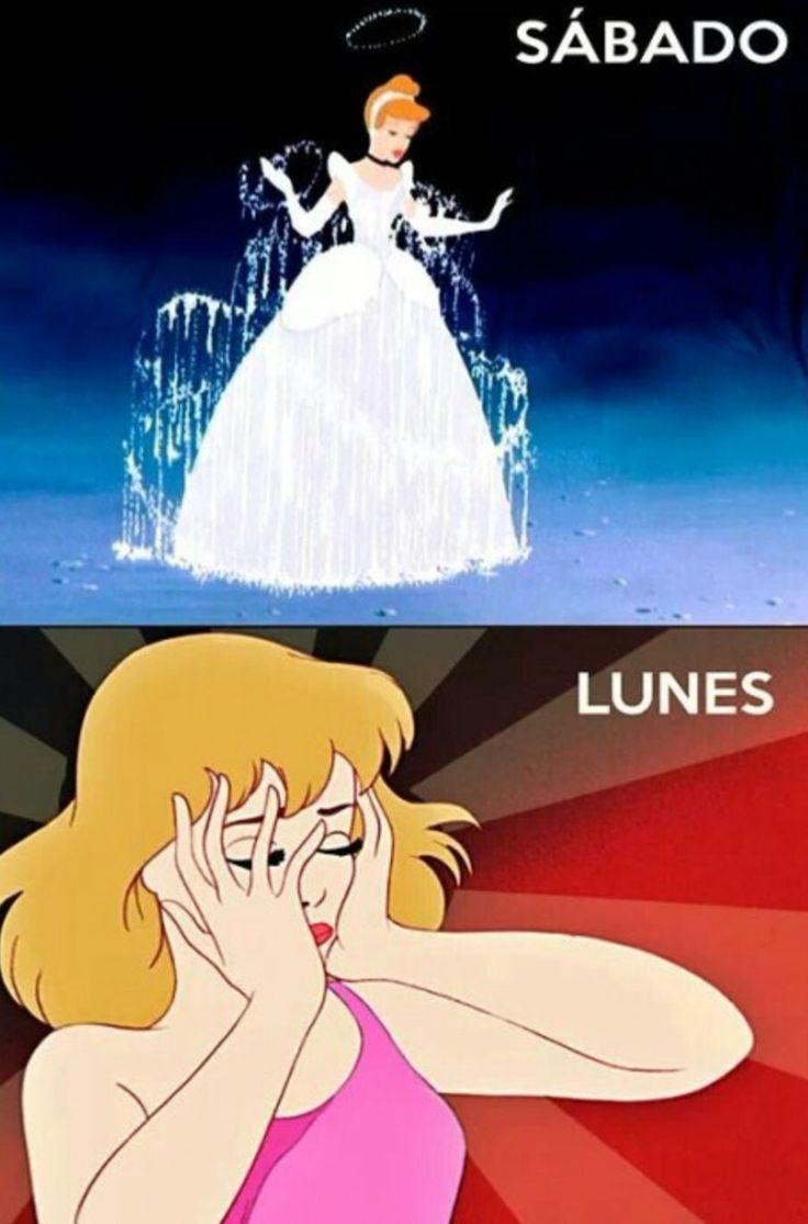 El sábado y el lunes #memes #princesas #disney #cruda #fiesta #lunes