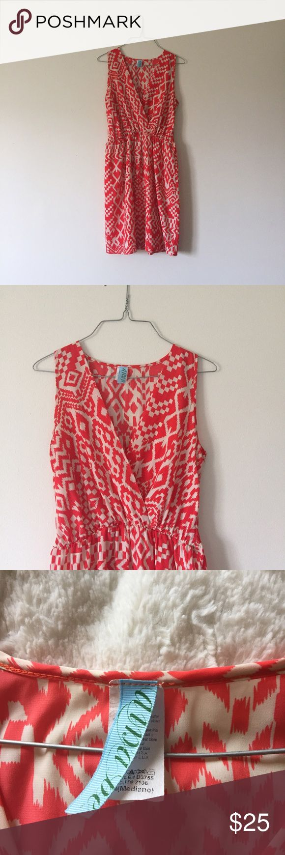 Gorgeous aztec surplice dress Beautiful aztec surplice front sleeveless dress from Francesca's. Very light and comfy for any occasion with a statement necklace and wedges. In great condition Francesca's Collections Dresses