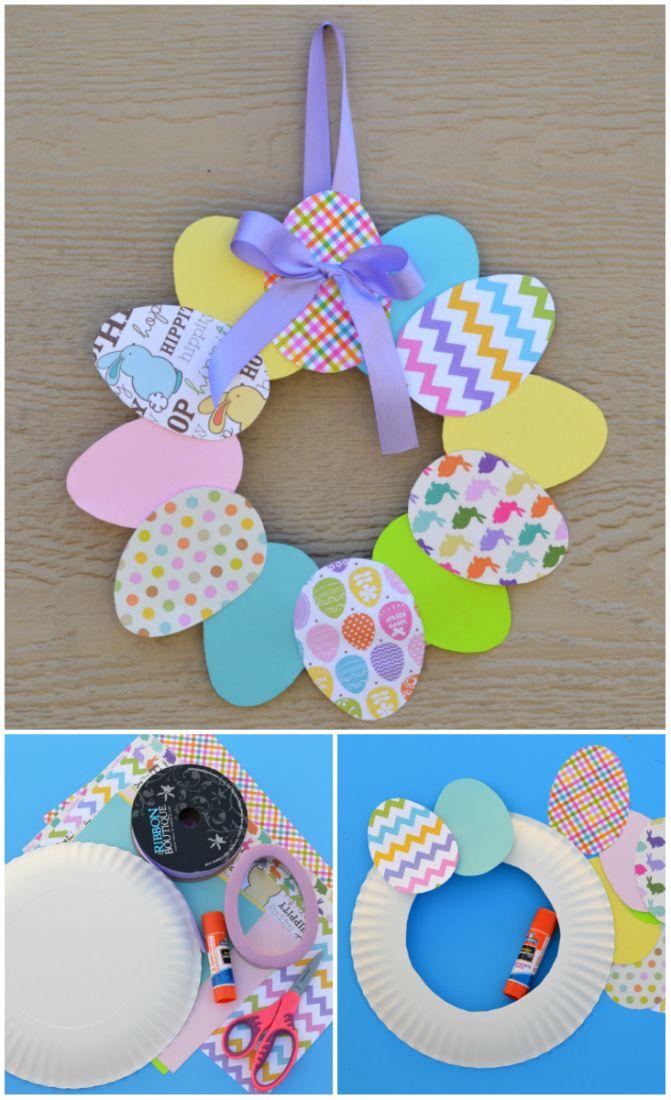 Couronne de Pâques avec des œufs en carton et une assiette jetable. 15 Créations en papier qui feront le bonheur des enfants