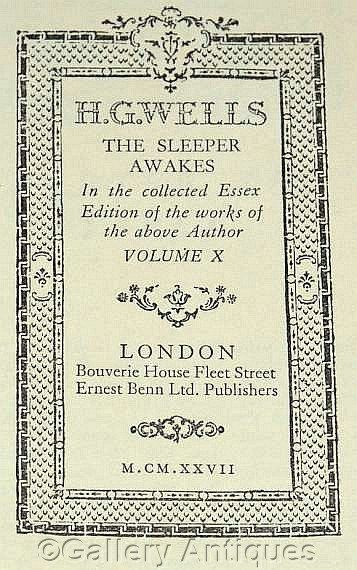 Vintage H G Wells - The Sleeper Awakes - Collected thin paper Essex Edition -- Volume X - Hardback Book sci fi Published in 1927 by #GalleryAntiques on Etsy