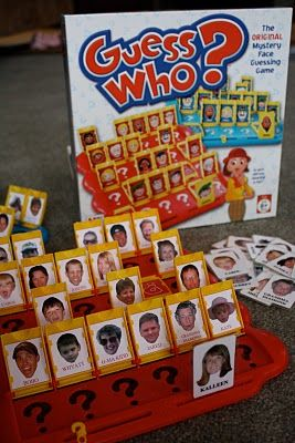 personalised guess who - could have one on each table , fun way to get to know the wedding guests
