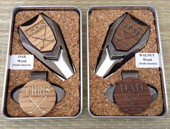 Personalized Groomsmen Gifts - Wood Golf Ball Marker Set - Divot Tool & Hat Clip in Custom Tin Gift Box - Gifts for Groomsmen, Best Man