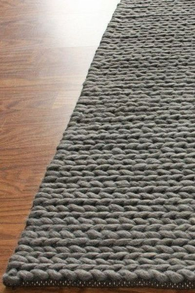 Chunky Thick Cable Wool Rug Grey Rugs On Carpet Grey