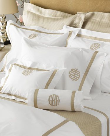"""Lowell luxury sheeting with applied 1"""" band and applique monogram."""