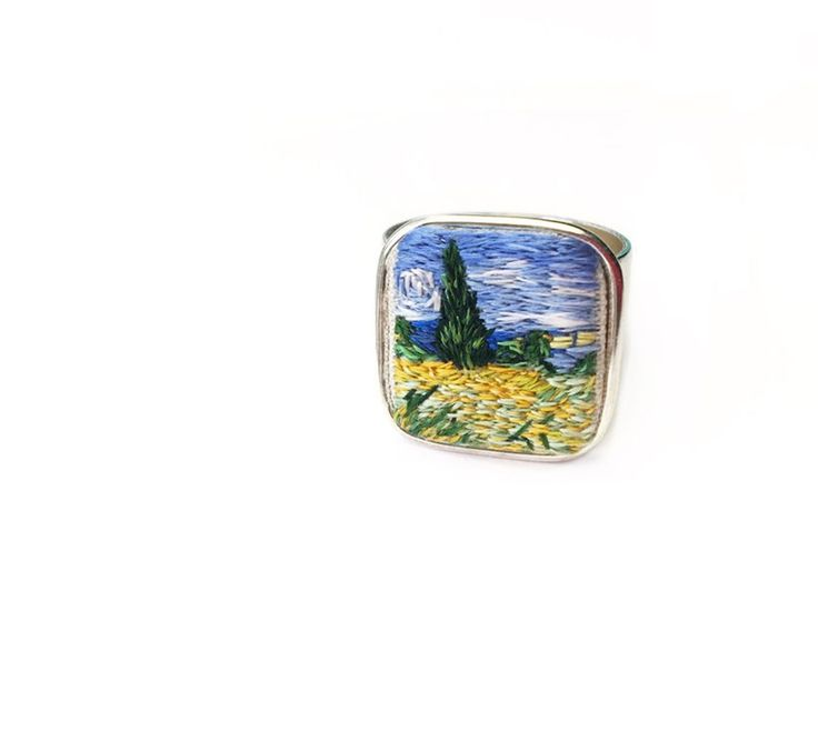 Vincent van Gogh wheat field ring. Hand embroidery @thimblethistle