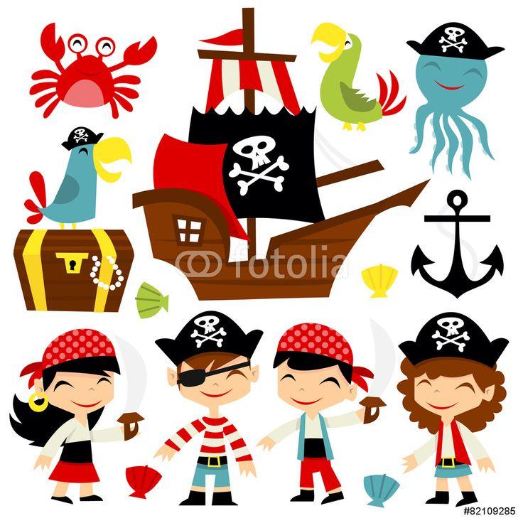 Retro Pirate Adventure Set Wall Sticker