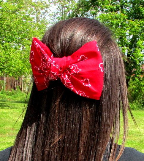 Bandana hair bow, large hair bow,hair clip, hair bow,bow, big hair bow,teens accessories,teens,womens on Etsy, $7.50