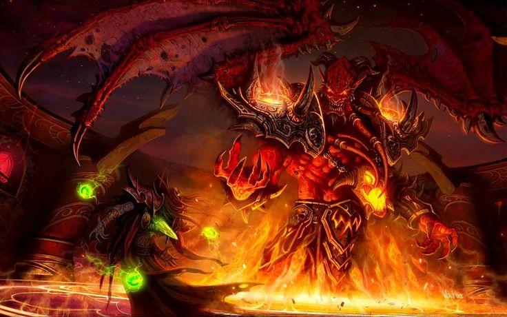 крылья, демон, магия, world of warcraft, Wow, монстр, эльф, огонь