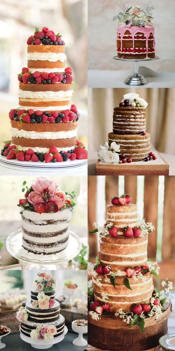 You heard that right, one of the most popular trends in wedding desserts lately has been, the very naked cake