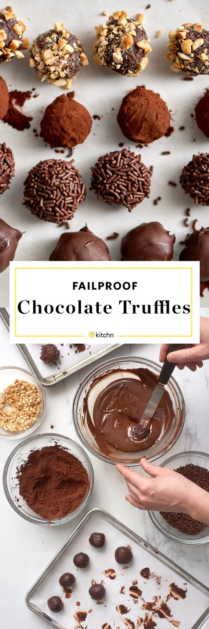 How to make easy homemade chocolate truffles from scratch. Need recipes and ideas for easy holiday or christmas gifts for family and friends? These simple, no bake, DIY truffles are perfect for adults AND kids.  You'll need dark or bittersweet chocolate, heavy cream and Dutch cocoa powder, chocolate sprinkles, finely chopped nuts, or melted chocolate for coating.