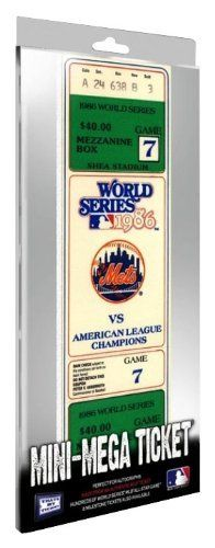 MLB New York Mets 1986 World Series Game 7 Mini-Mega Ticket by That's My Ticket. $19.99. Officially licensed by MLB, Mini-Mega Tickets are made from authentic MLB tickets that are enlarged 200% and printed directly on 1/4-inch white board. Mini-Mega Tickets are perfect for autographs and can be used as a team-signed item.