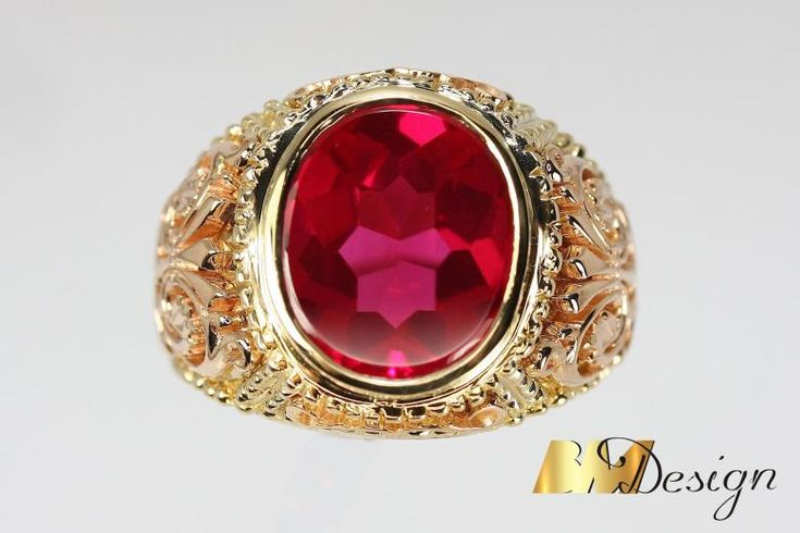 Męski sygnet z rubinem biżuteria na zamówienie Rzeszów zdobiony masywny złoty Bm Design Rzeszów