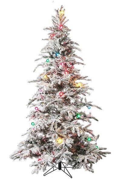 7.5' Flocked Balsam Pine Prelit Artificial Christmas Tree