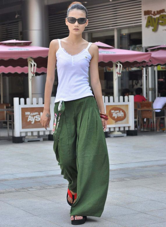 Forest Green Linen Wide Leg Long Pants Skirt from Sophiaclothing.  This is the next item I want to buy from Sophiaclothing.